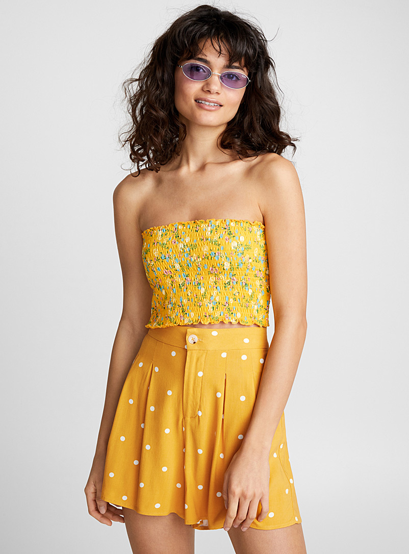 Floral smocked tube top - Organic Cotton - Patterned Yellow