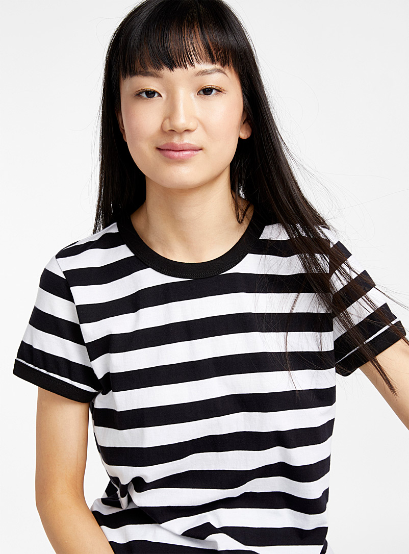 Organic cotton accent trim tee - Organic Cotton - Black