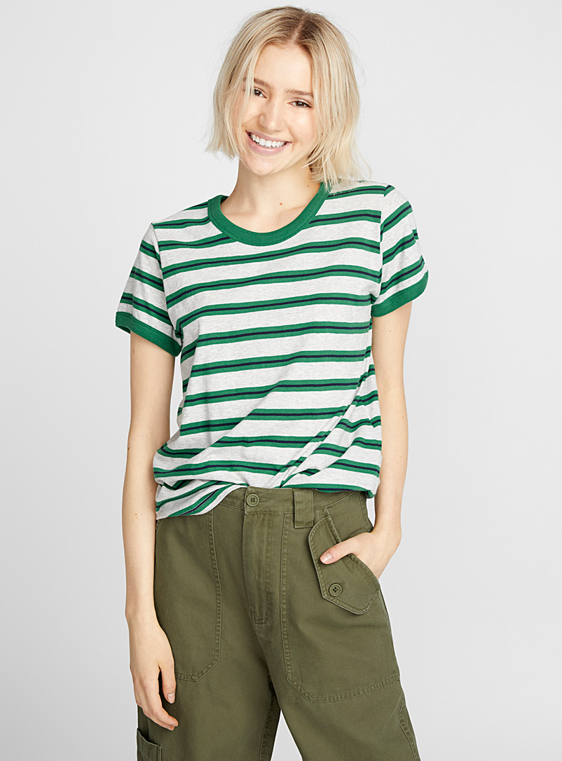 Organic cotton accent trim tee - Organic Cotton - Patterned Green