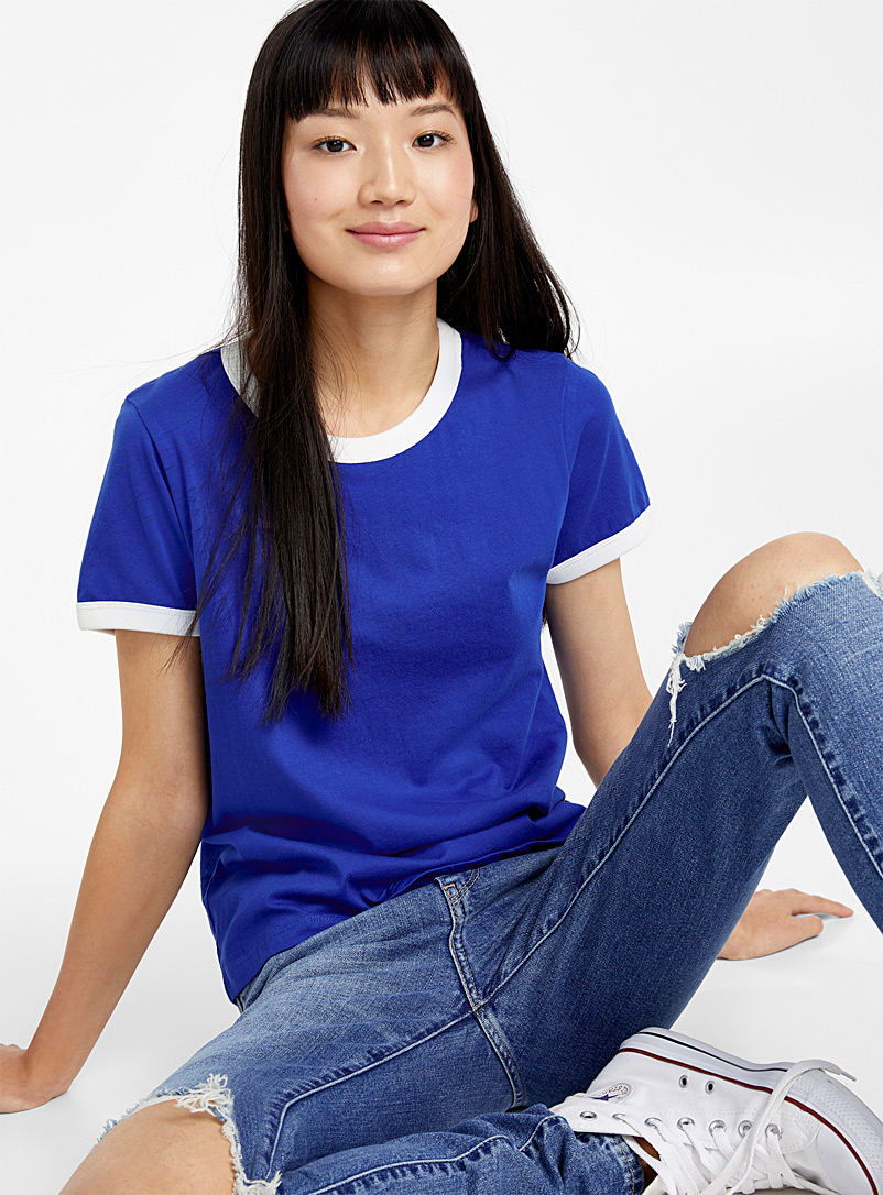 Organic cotton accent trim tee - Organic Cotton - Blue