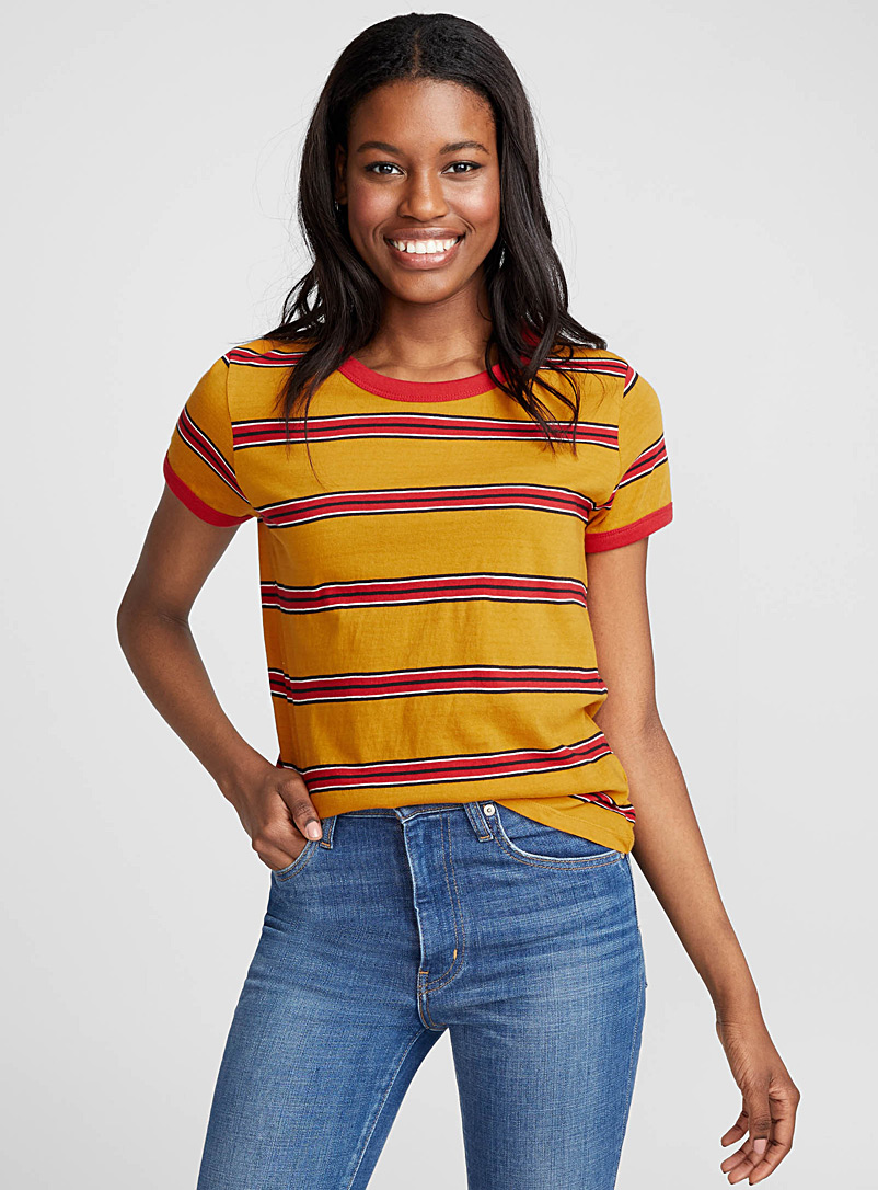 Organic cotton accent trim tee - Organic Cotton - Patterned Yellow
