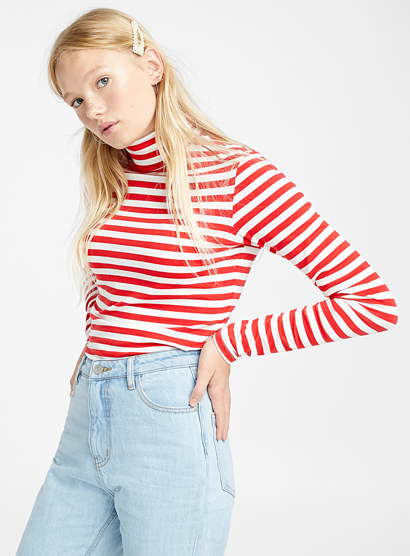 Twin stripe organic cotton turtleneck - Organic Cotton - Patterned Red