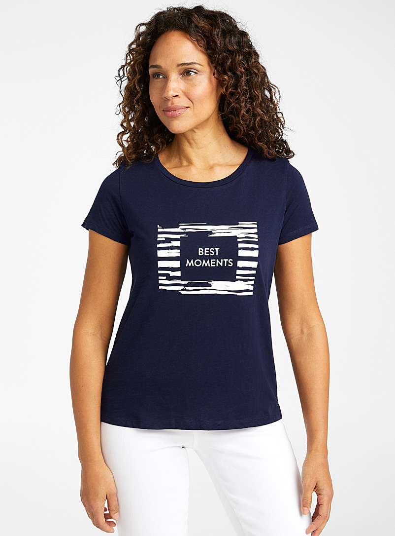 Contemporaine Dark Blue Artistic-print organic cotton tee for women