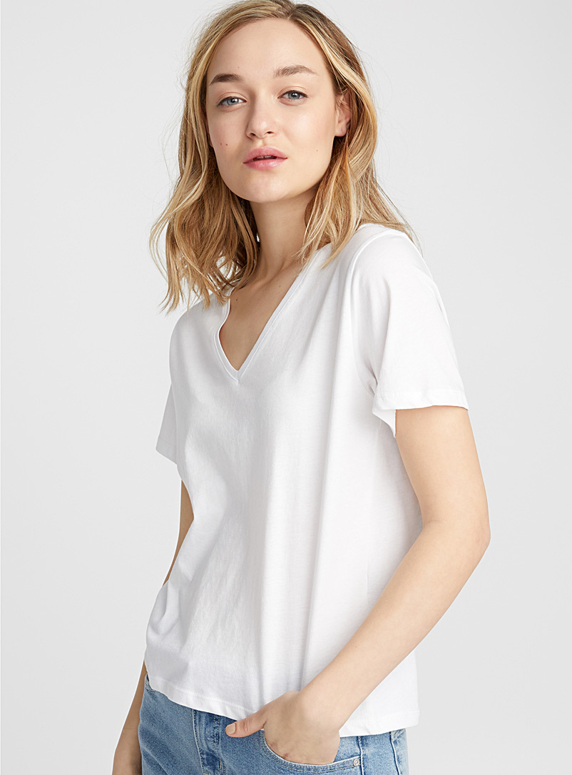 Basic organic cotton V-neck tee - Short Sleeves - White