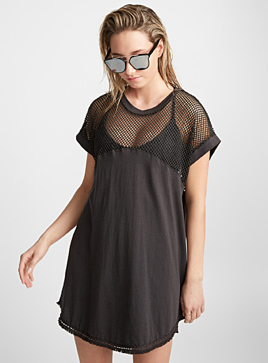 Mesh block beach dress