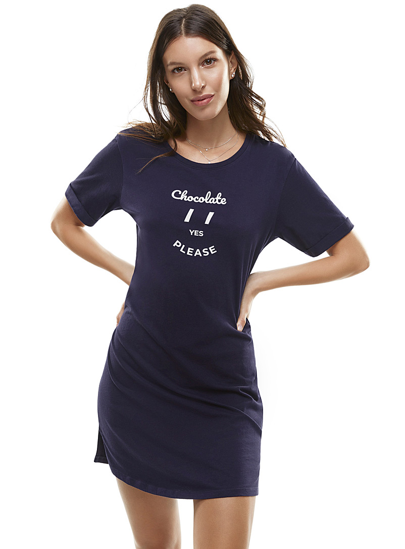Simple pleasures sleep tee - Nighties & Sleepshirts - Dark Blue