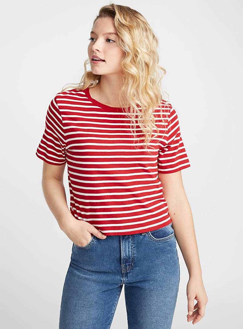 Striped cropped organic cotton tee - Organic Cotton - Patterned Red