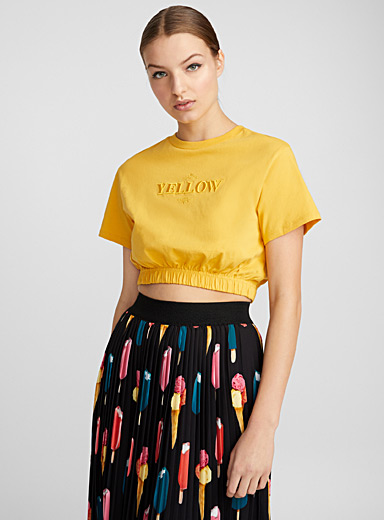 Embroidered colour cropped T-shirt
