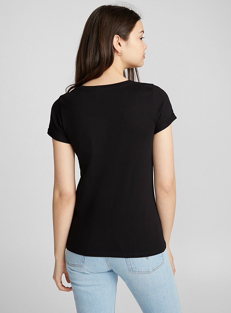 Organic cotton cuffed-sleeve tee - Organic Cotton - Black