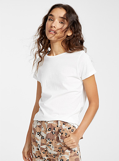 Organic cotton cuffed-sleeve tee