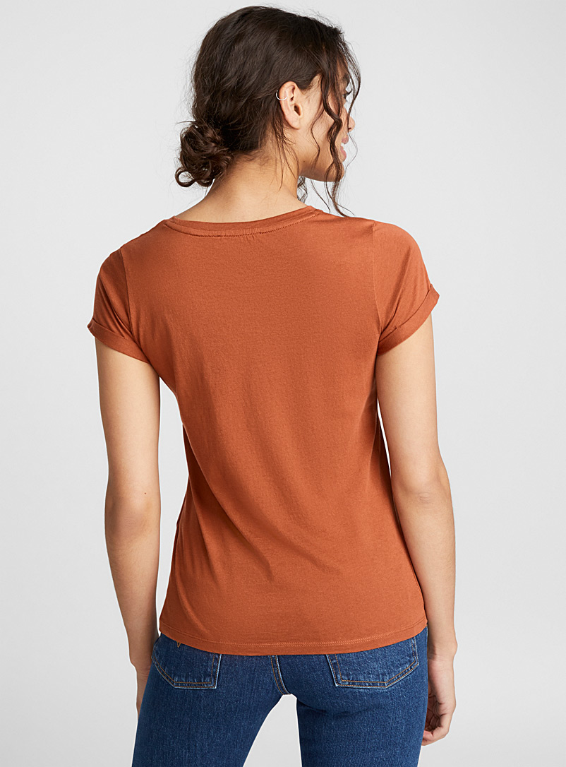 Organic cotton cuffed-sleeve tee - Organic Cotton - Brown