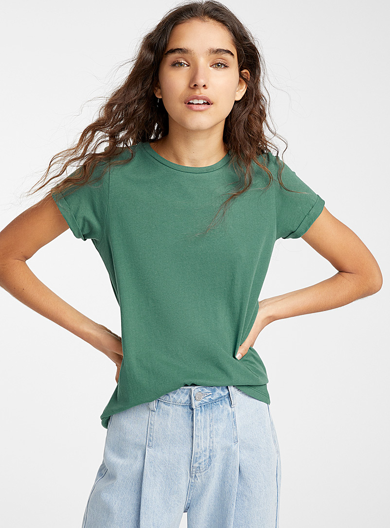 Organic cotton cuffed-sleeve tee - Organic Cotton - Assorted