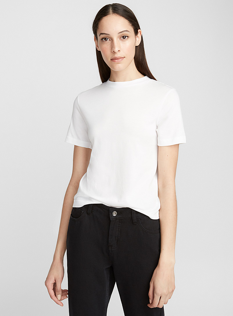Icône White Organic cotton crew-neck tee for women