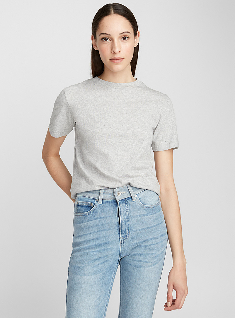 Icône Grey Organic cotton crew-neck tee for women