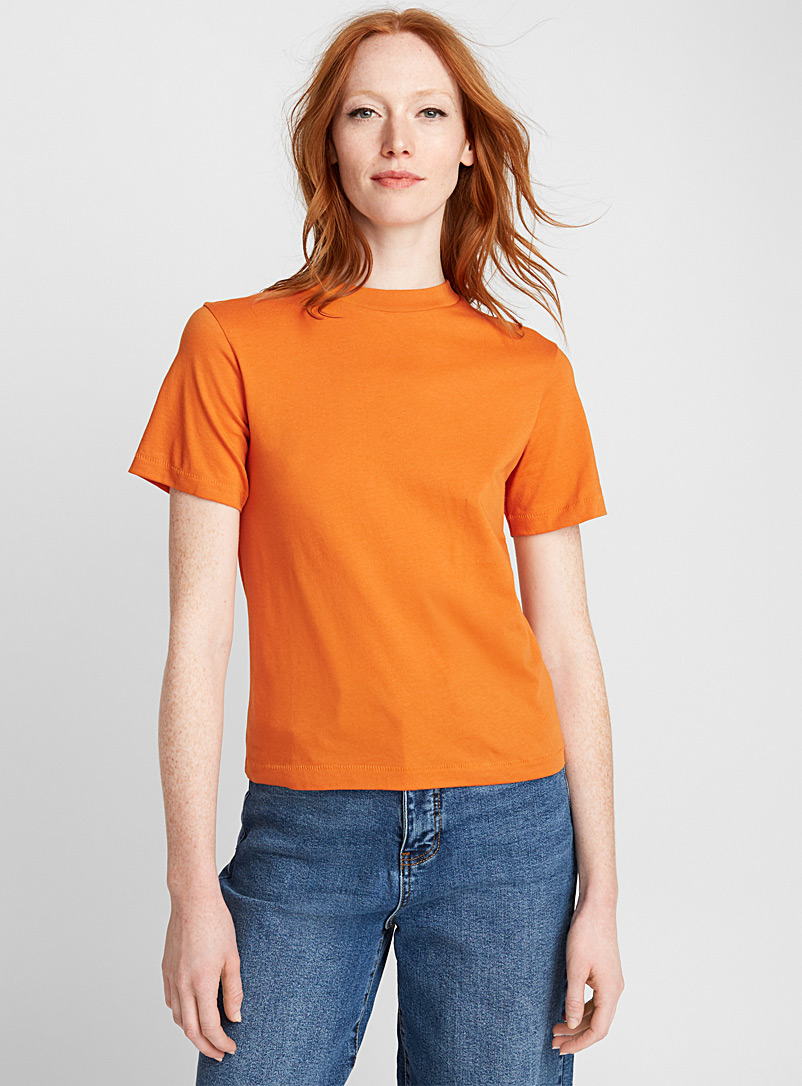 Organic cotton crew-neck tee - Organic Cotton - Orange