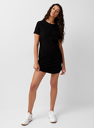 Twik Black Organic cotton rolled-sleeve T-shirt dress for women
