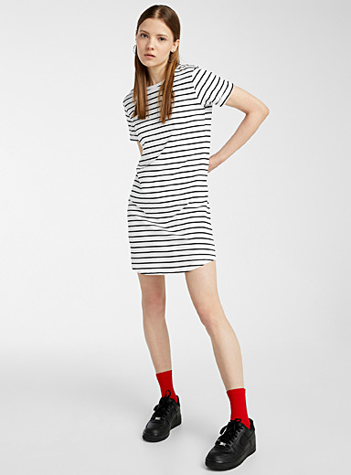 Organic cotton rolled-sleeve T-shirt dress