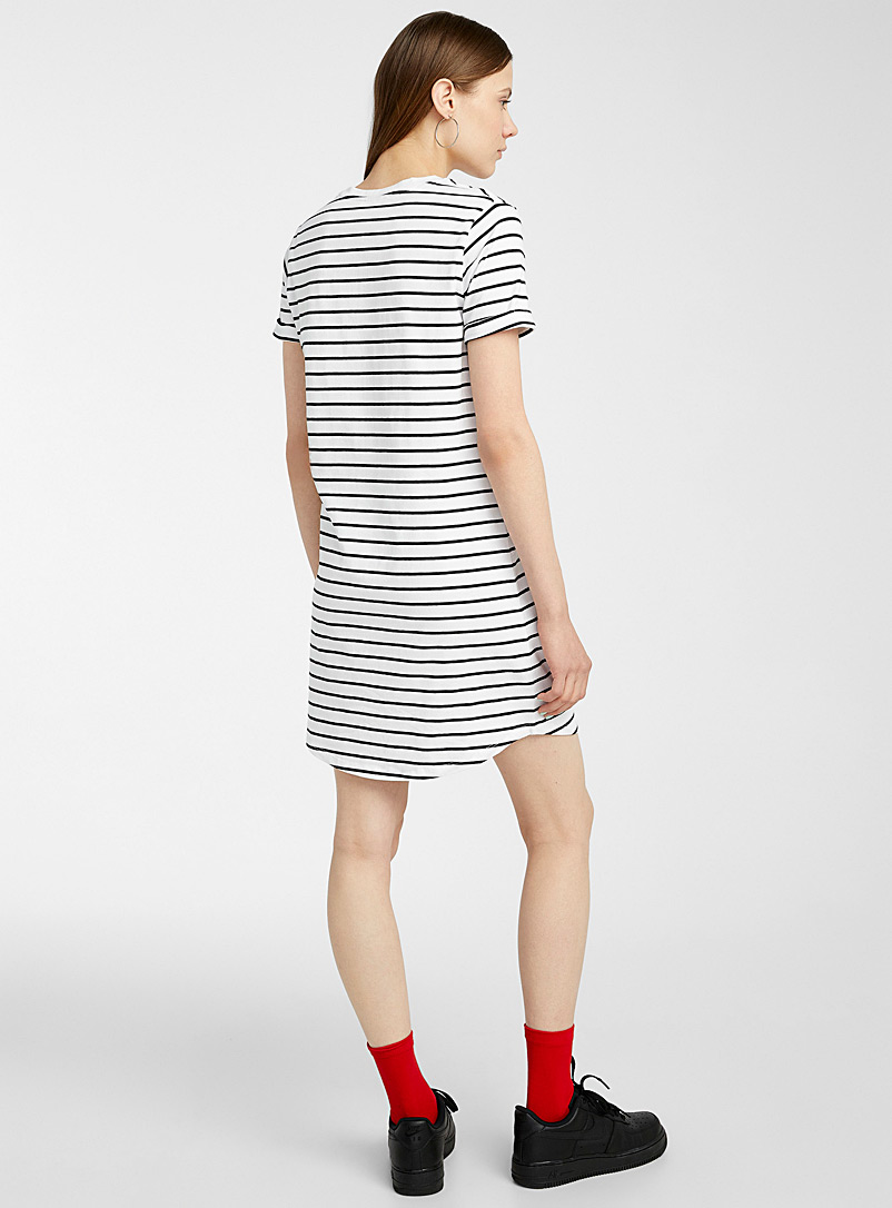 Twik Black and White Organic cotton rolled-sleeve T-shirt dress for women