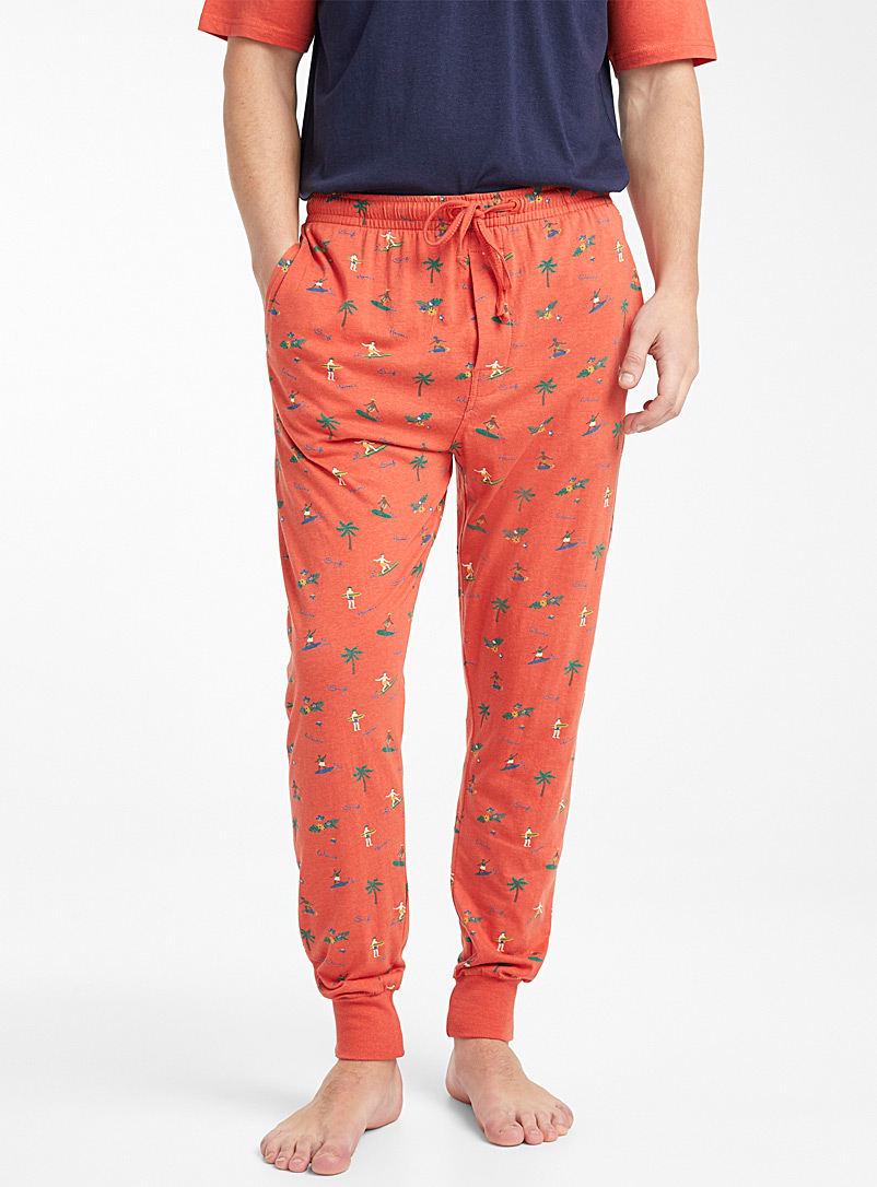 Le 31 Patterned Orange Organic cotton seaside lounge joggers for men