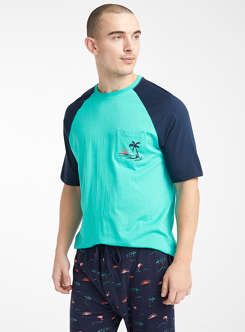 Le 31 Teal Organic cotton seaside lounge t-shirt for men
