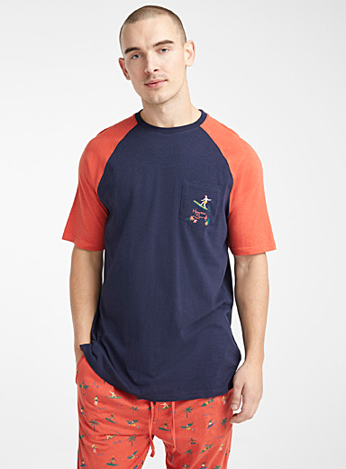 Le 31 Patterned Orange Organic cotton seaside lounge t-shirt for men
