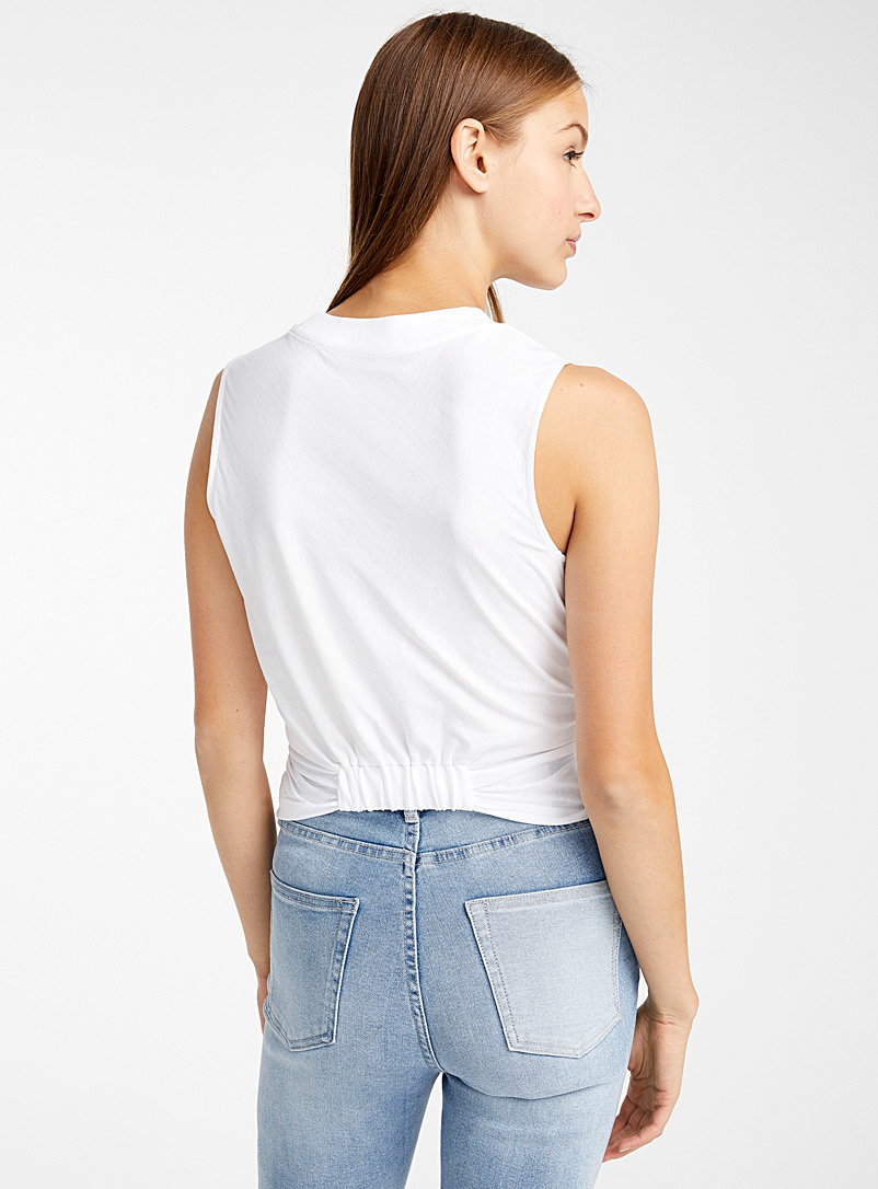 Icône White Organic cotton twisted cami for women