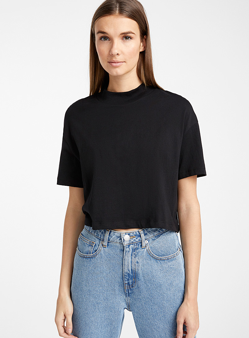 Icône Black Organic cotton cropped tee for women