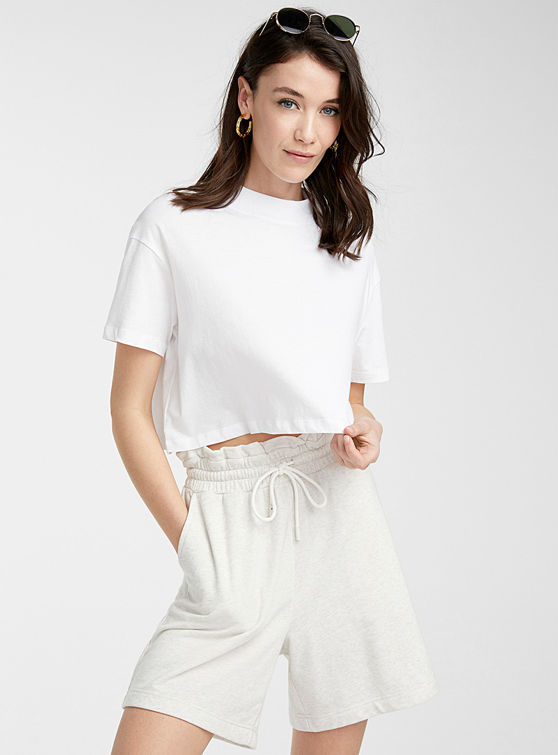 Icône White Organic cotton cropped tee for women