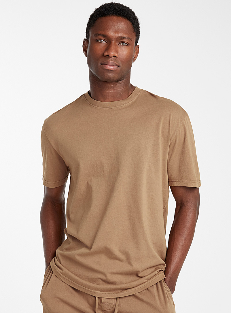 Le 31 Light Brown Basic organic cotton lounge T-shirt for men