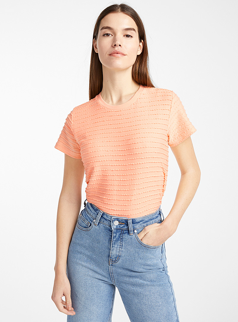 Ic?ne Peach Organic cotton embossed wave T-shirt for women