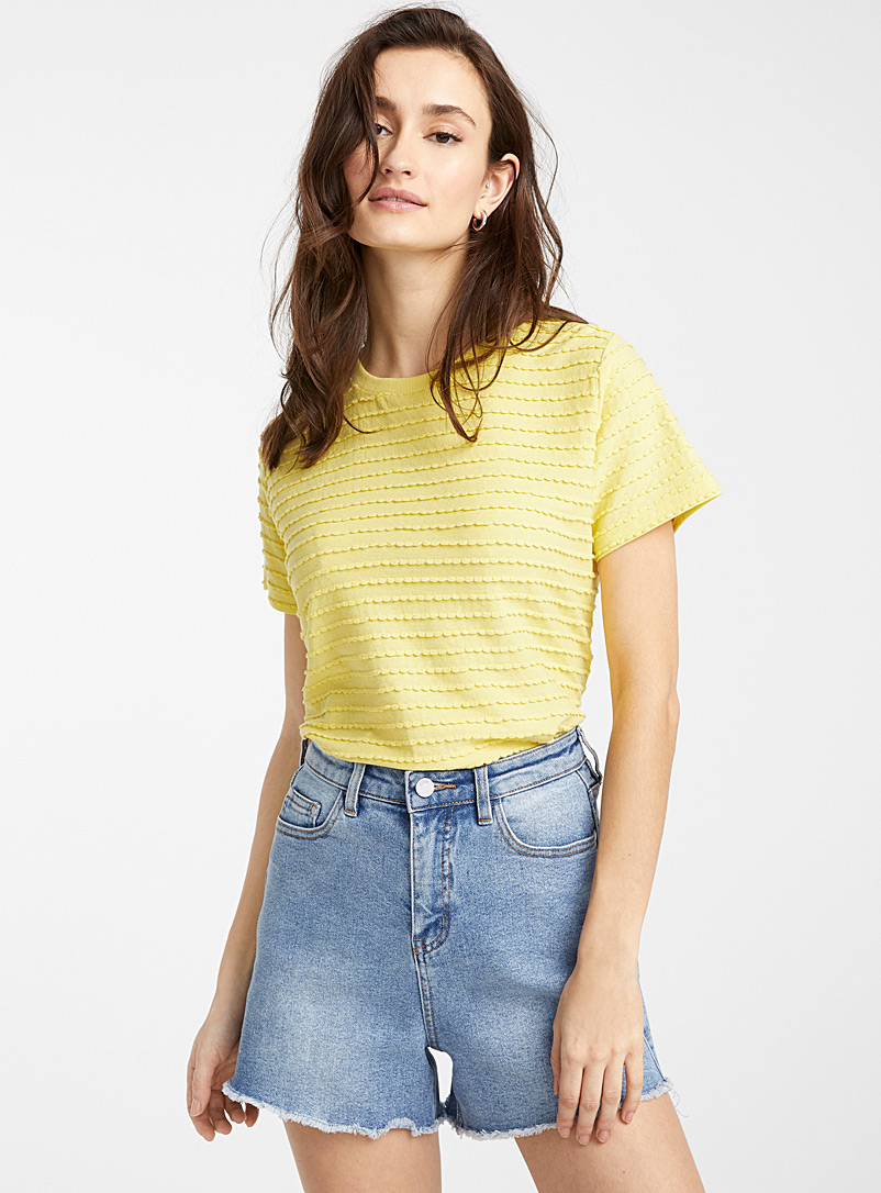 Ic?ne Golden Yellow Organic cotton embossed wave T-shirt for women