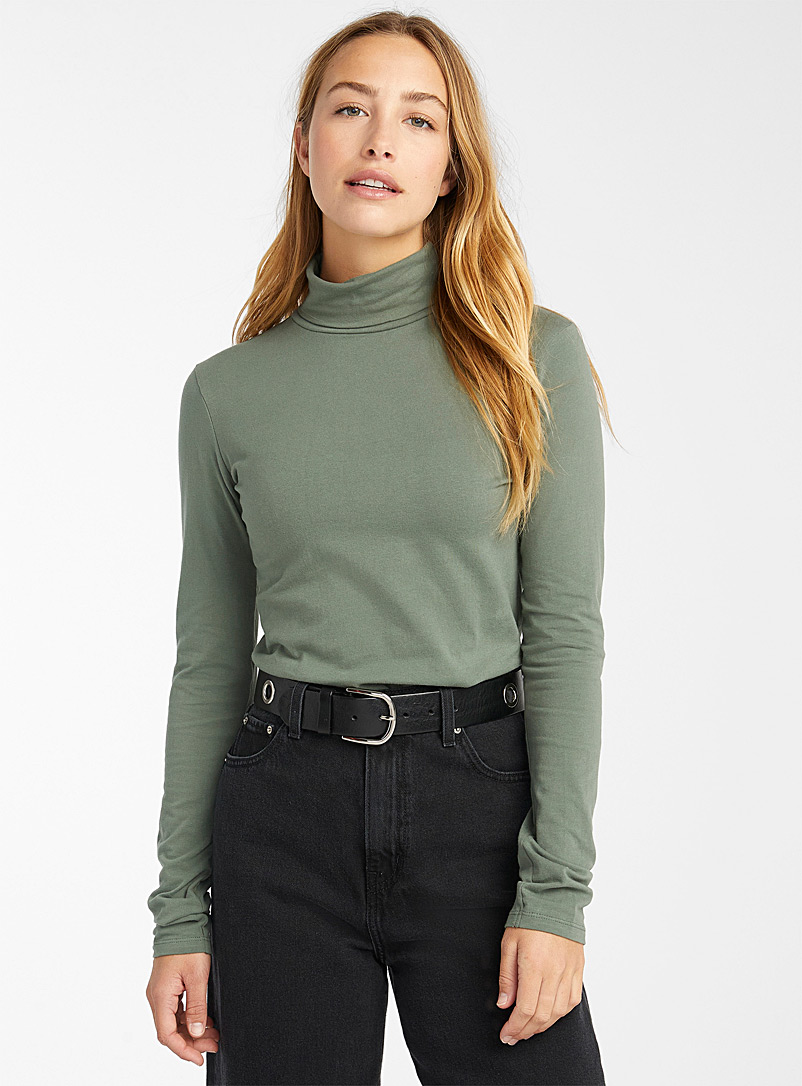 Twik Green Organic cotton basic turtleneck T-shirt for women