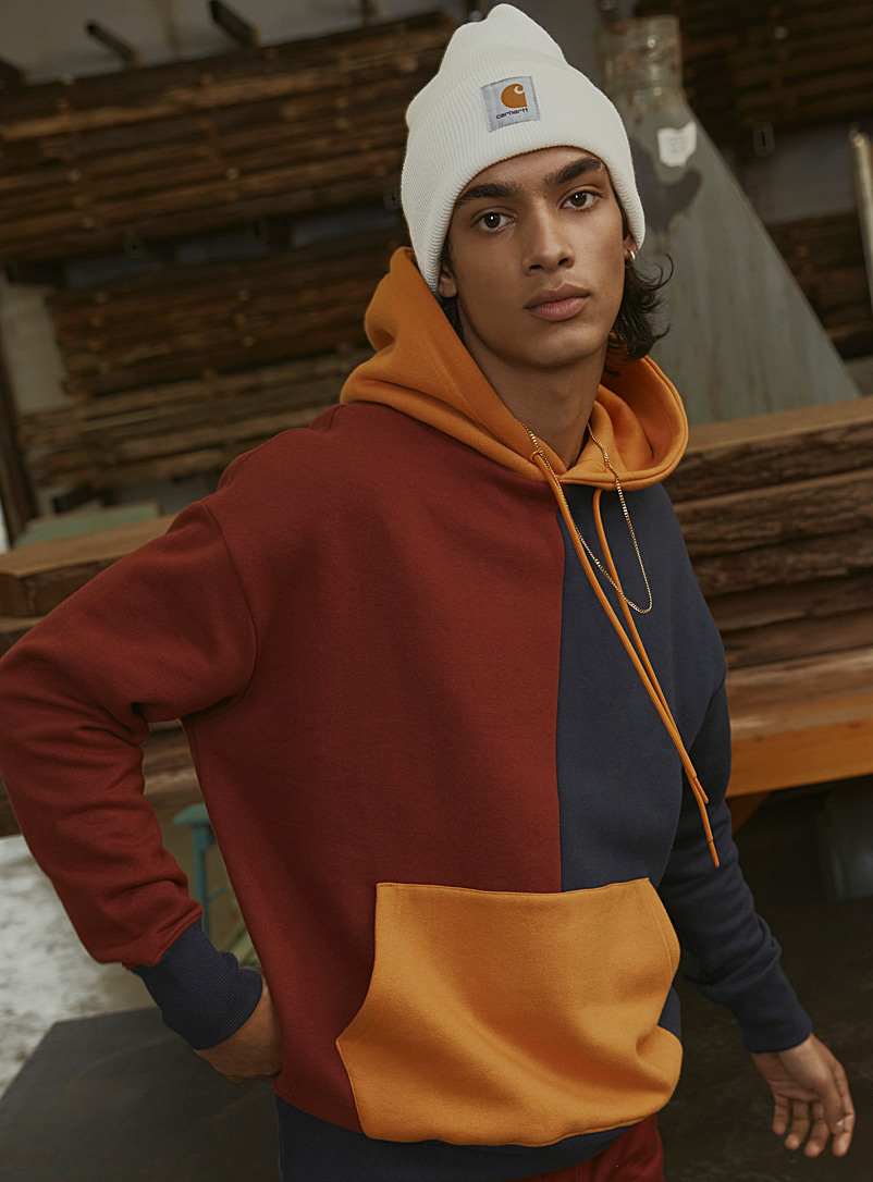 Djab Golden Yellow Eco-friendly colourblock hoodie for men