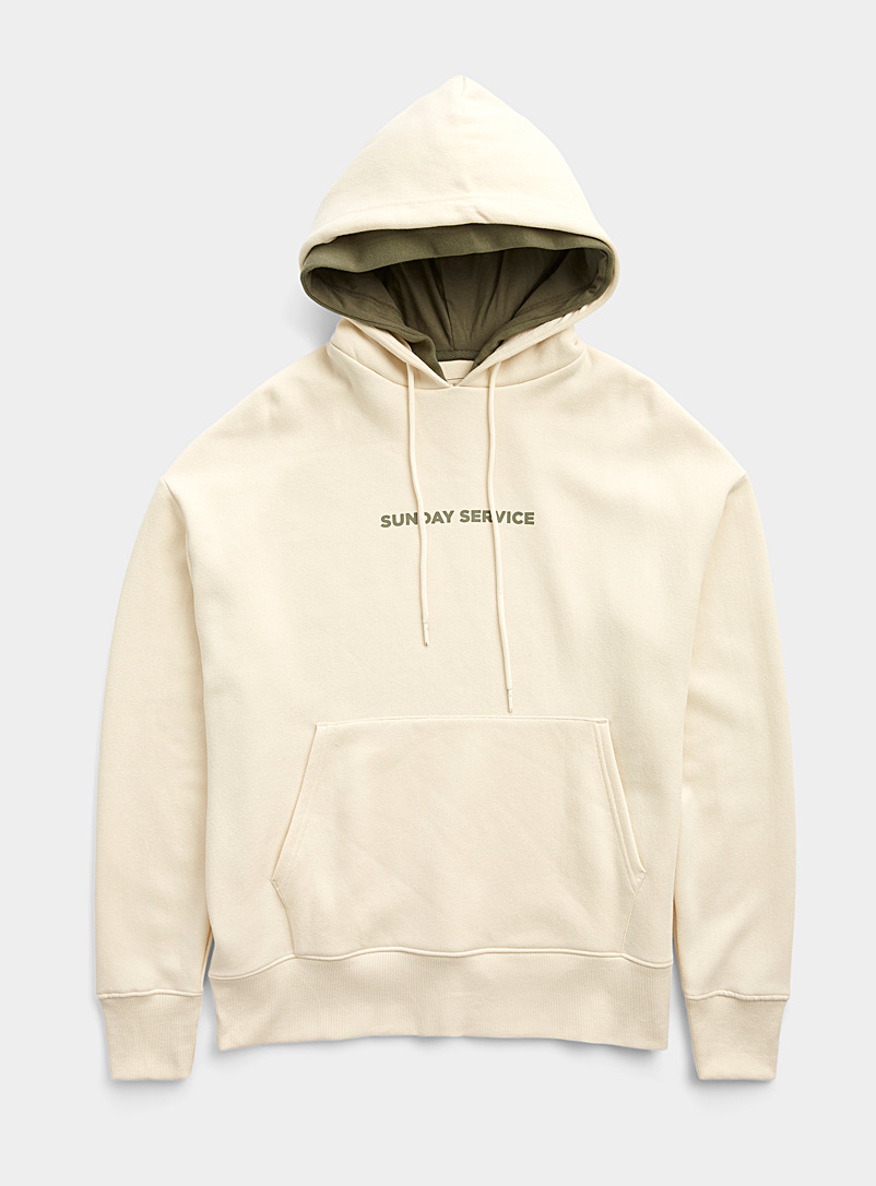 Djab Cream Beige Casual message eco-friendly hoodie for men