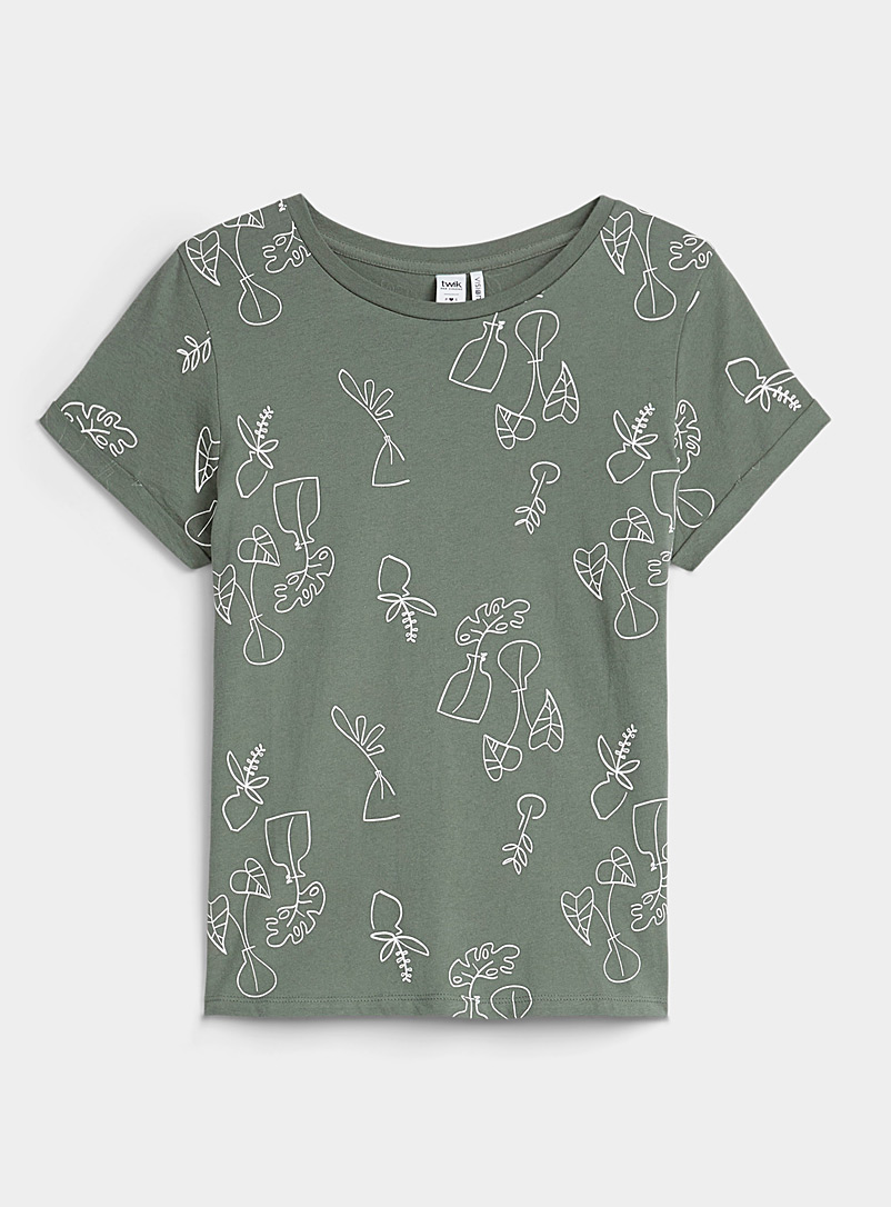 Twik Kelly Green Printed organic cotton tee for women