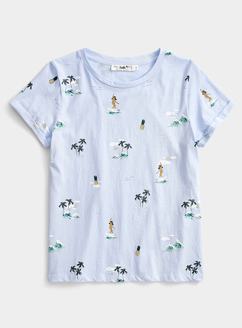Twik Baby Blue Printed organic cotton tee for women