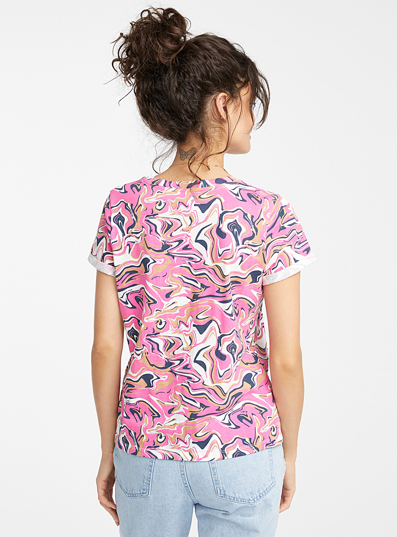 Twik Ivory White Printed organic cotton tee for women