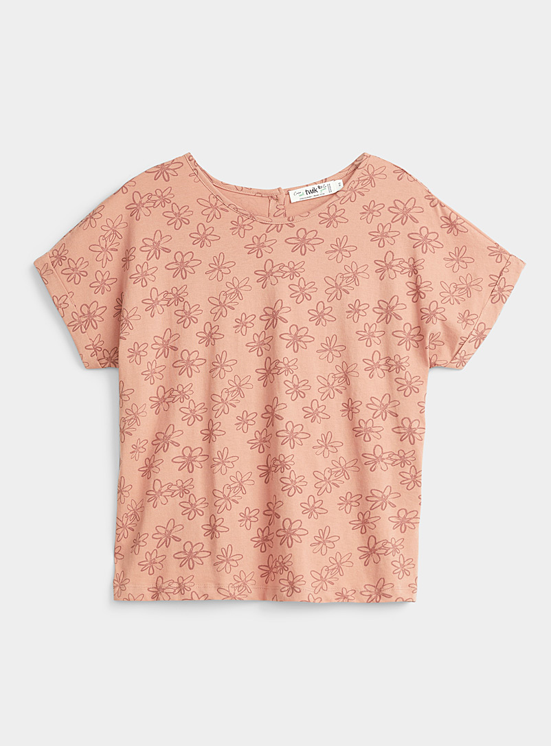 Twik Dusky Pink Organic cotton button-back tee for women