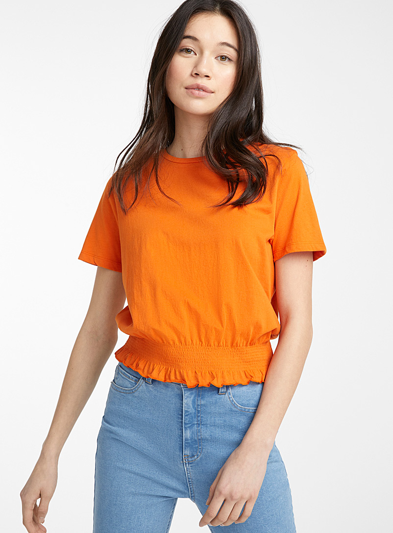Twik Orange Organic cotton ruffle-waist tee for women