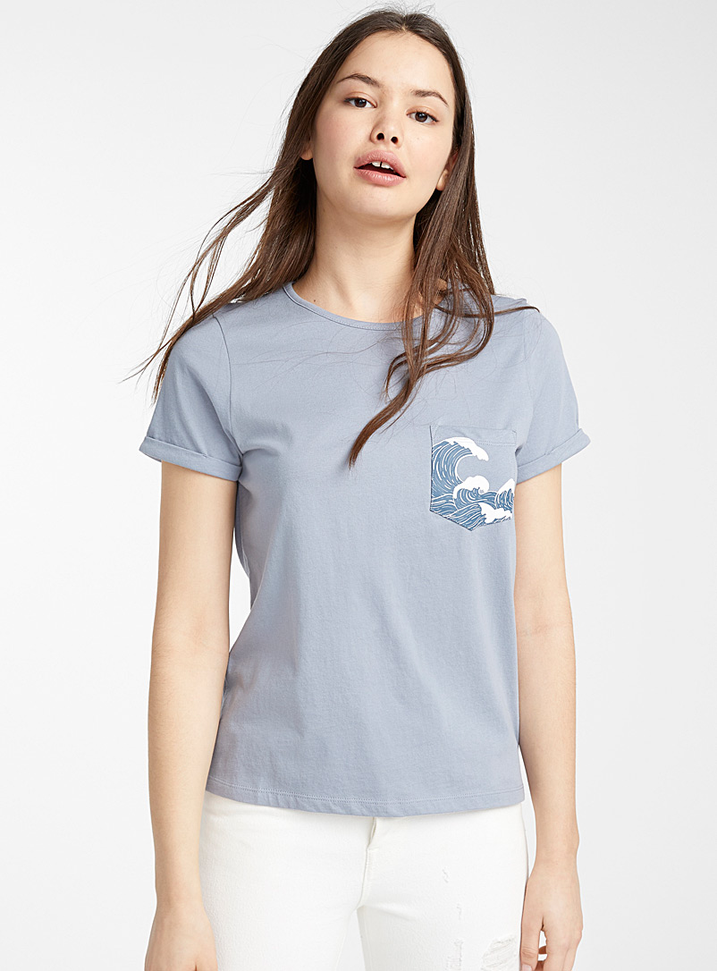 Twik Slate Blue Organic cotton printed pocket tee for women