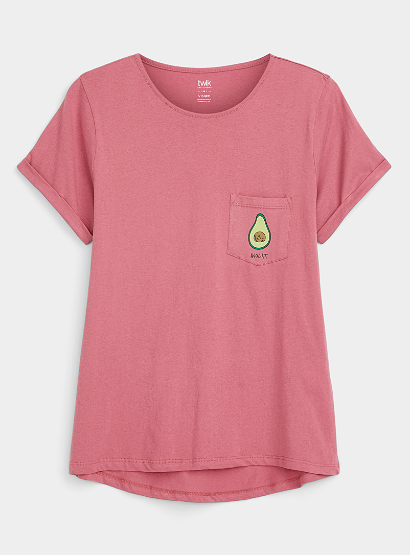 Twik Dusky Pink Organic cotton printed pocket tee for women