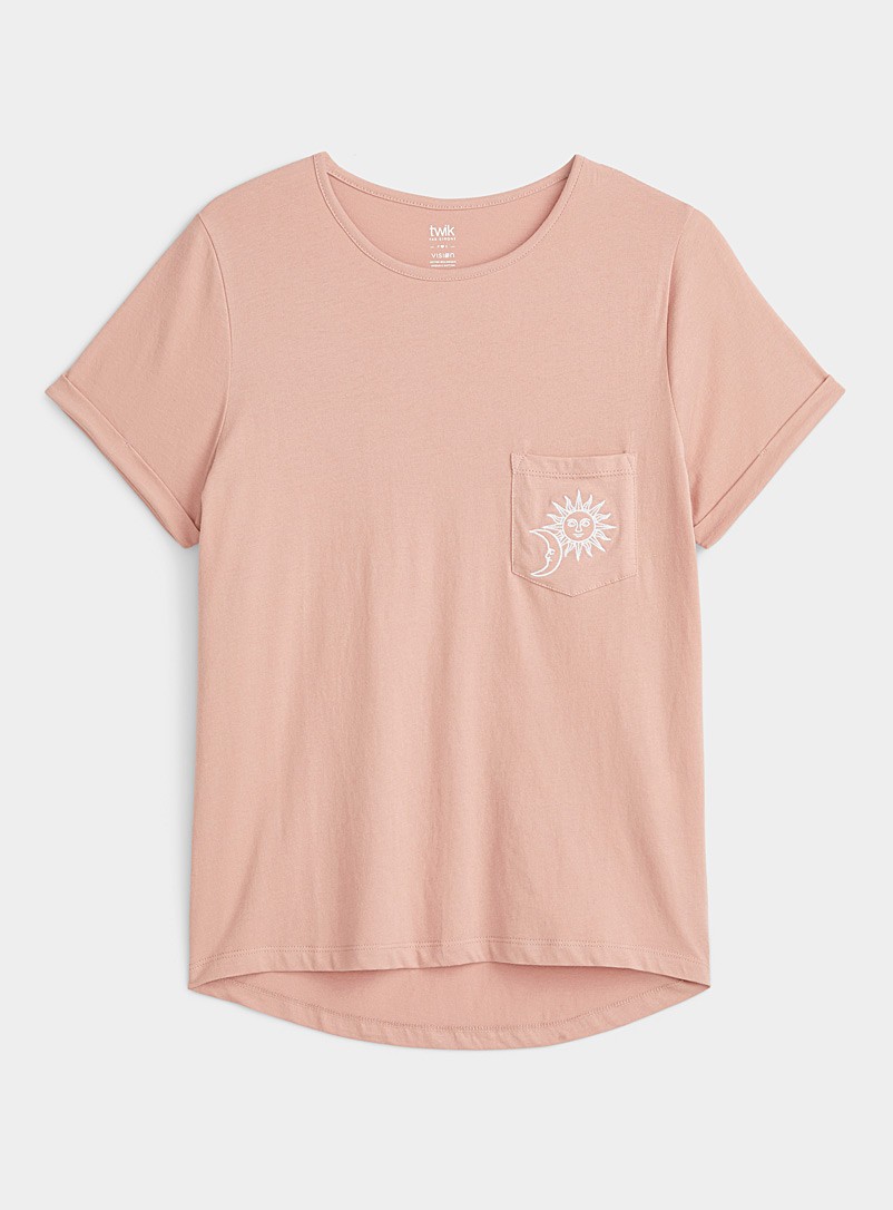 Twik Peach Organic cotton printed pocket tee for women
