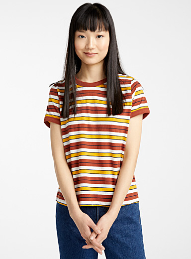 Twik Patterned Brown Organic cotton accent trim tee for women