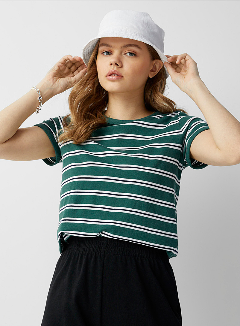 Twik Green Accent-striped organic cotton tee for women