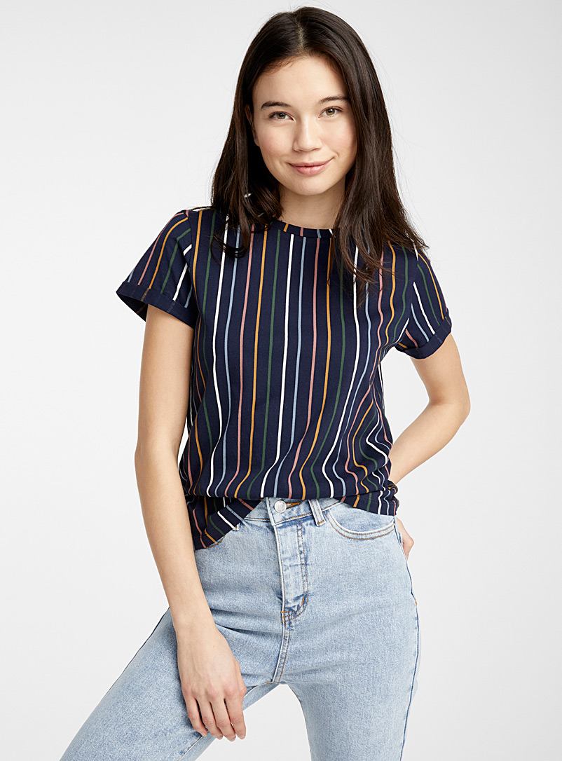 Twik Patterned Blue Organic cotton pop stripe tee for women