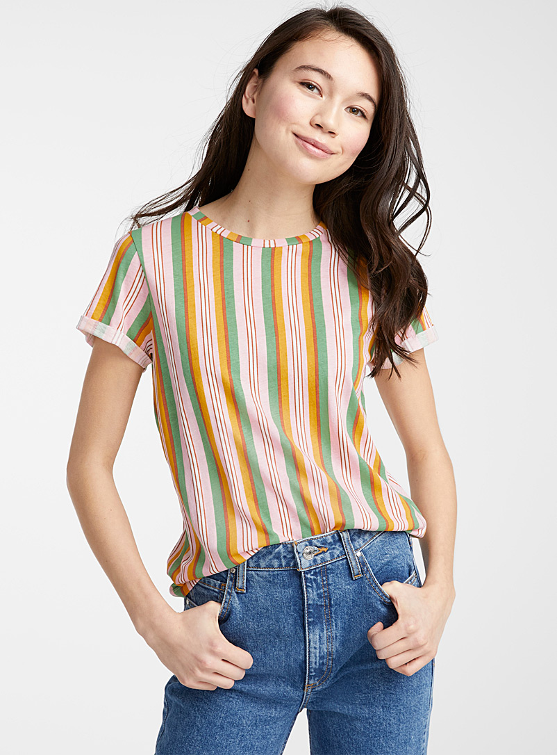 Twik Medium Pink Organic cotton pop stripe tee for women