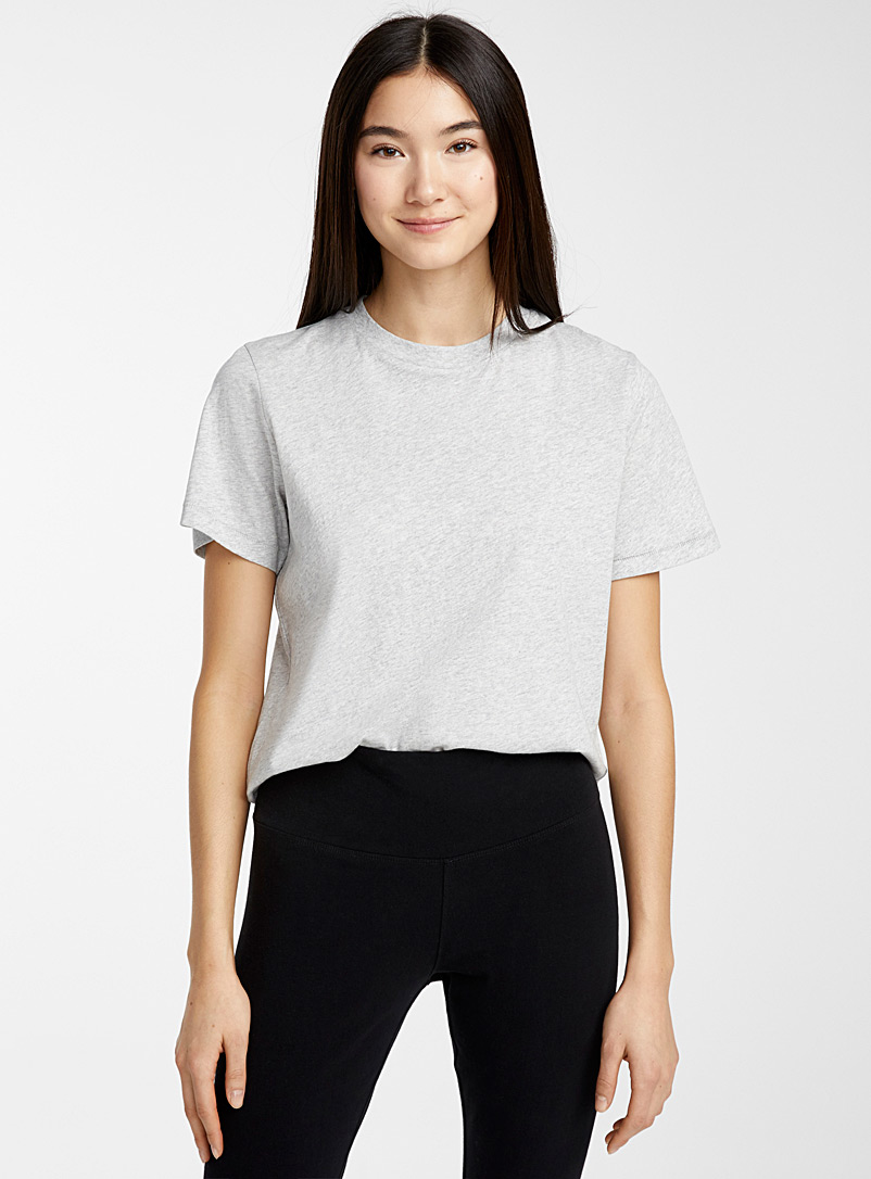 Miiyu x Twik Grey Solid organic cotton round-neck tee for women