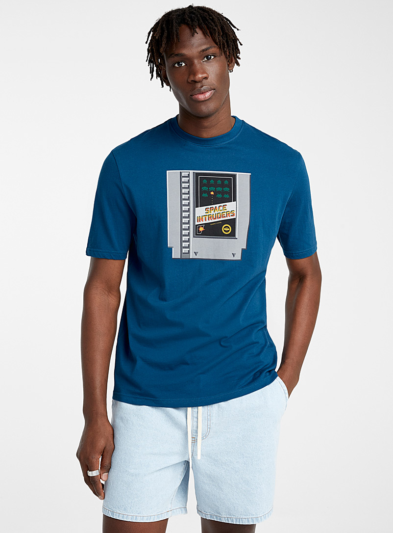 Djab Slate Blue Organic cotton figurative T-shirt for men