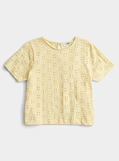 Twik Golden Yellow Organic cotton broderie anglaise tee for women