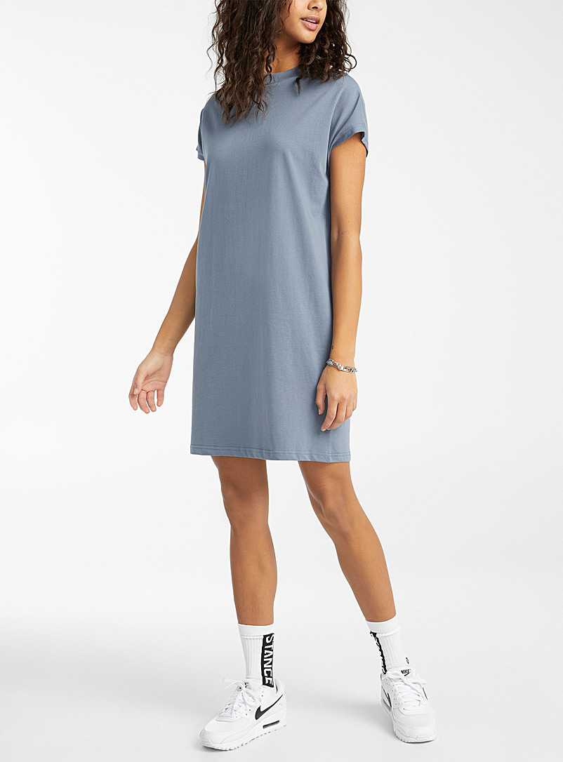 Twik Slate Blue Organic cotton T-shirt dress for women